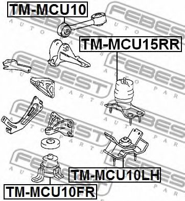 ПОДУШКА ДВИГАТЕЛЯ TOYOTA CAMRY ACV3#/MCV3# 2001-2006 FEBEST TMMCU10