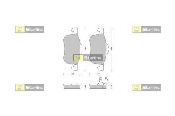Колодки гальмівні дискові передні, комплект STARLINE BDS371