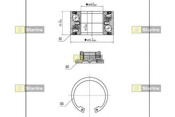 Фото - Подшипник ступицы колеса, к-кт. (для автомобилей с ABS) STARLINE - LO03531
