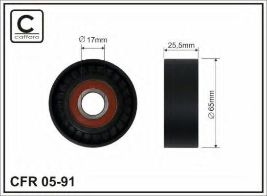 Фото - (65X17X25.4) Ролик до натяжника паска поліклинового Citroen/Peugeot 1.4/1.6HDI CAFFARO - 0591