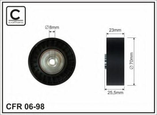 Фото - 70x8x22,5 Ролик направл. пластм. Bmw E36/E34/E39 2,5 TD CAFFARO - 0698