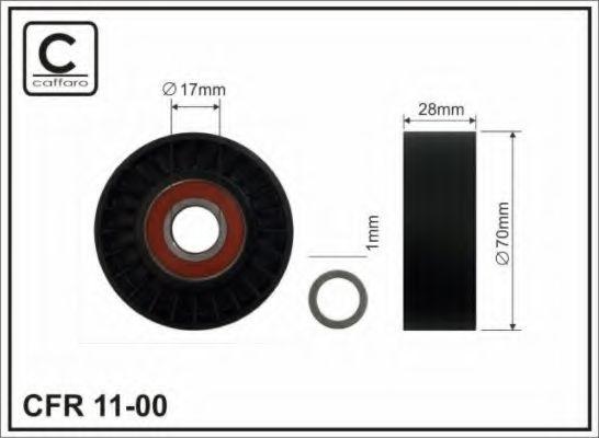 Натяжитель ремня генератора Ролик натяжной Fiat Ducato 2.3JTD (70x29x17) CAFFARO арт. 1100