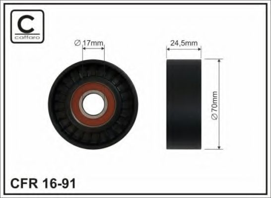 Натяжитель ремня генератора Ролик натяжной VW 1.9/2.0TDI 70x24mm CAFFARO арт. 1691