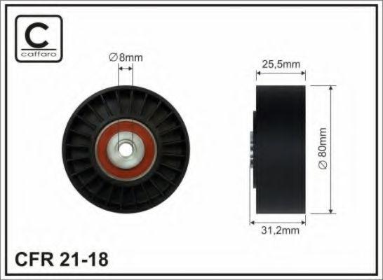 80x8x25,5 Натяжний ролик паска DB 124,201 M102 (гладкий) CAFFARO 2118
