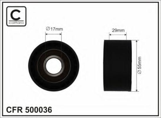 (55X17X29) Натяжний ролик BMW X3 (E83)/520 (E61)/520 (E60)/X5 (E70)/ X6 (E71,E72)  CAFFARO 500036