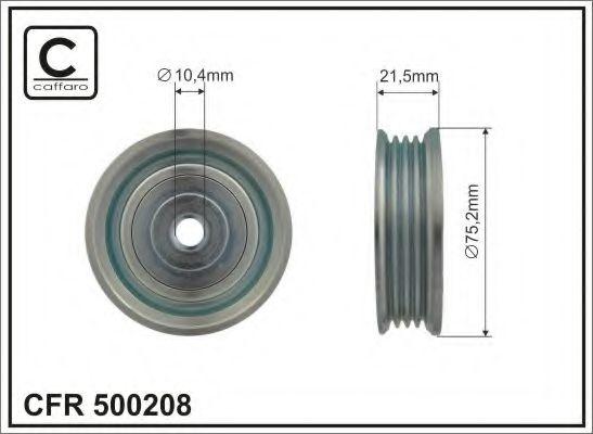 75,2x10,4x21,5 Натяжний ролик паса поліклинового Mitsubishi Pajero Sport 03-/Galant 2.5 V6 24V 96- CAFFARO 500208