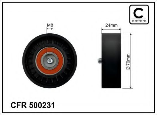 Натяжитель ремня генератора Ролик натяжной ремня приводного MITSUBISHI LANCER, OUTLANDER II 2.0 DI-D 02.07-; JEEP COMPAS 2.0 CRD CAFFARO арт. 500231
