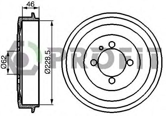 Гальмівний барабан BMW E30 324d -90 PROFIT 50200003