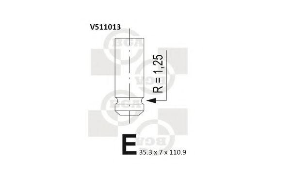 Клапан впускной Клапан BGA арт. V511013