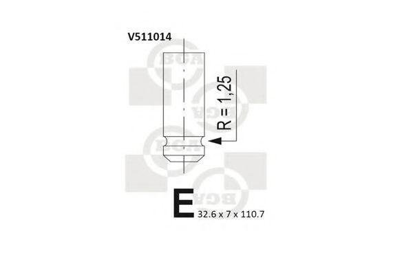 Клапан выпускной Клапан выпускной Renault Kangoo, Megane 1.9 dCi, DTI BGA арт. V511014