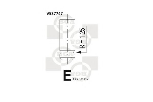 Клапан выпускной Клапан выпуск. Ducato/Scudo/Berlingo/Partner 1.9D (XUD) 96- BGA арт. V537747