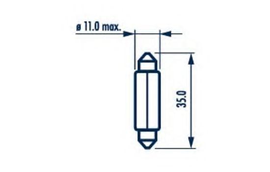 Фонарь номерного знака Лампочка С5W  5 Вт 12В цоколь SV8.5-8 NARVA арт. 17125