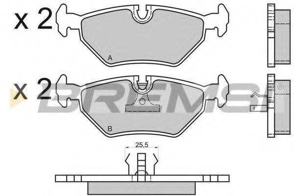Колодки тормозные задние BMW 3(E36, E46)/5(E34)/7(E32) 86-06 (ATE) (122x45x16)  арт. BP2415