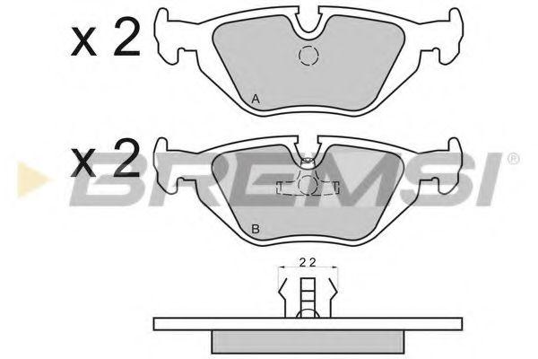 Колодки тормозные задние BMW 3(E36, E46)/5(E34)/7(E32) 86-06 (ATE) (123x43,6x16,7)  арт. BP2498