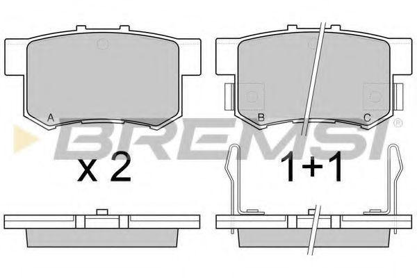 Колодки тормозные задние Honda Civic 98-/Accord 90-03 (Akebono) (47,5x89x14,5)  арт. BP2544