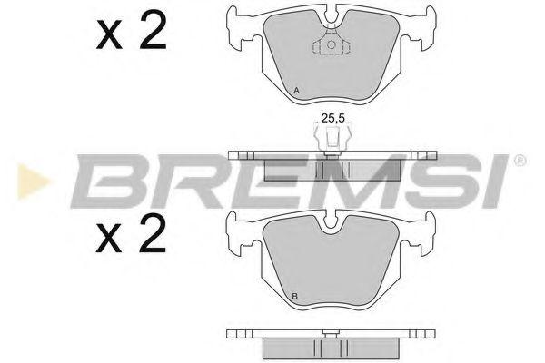 Колодки тормозные задние BMW 3(E46)/7(E38)/X5(E53) 94-11 (ATE) (123x59,4x17,3)  арт. BP2652