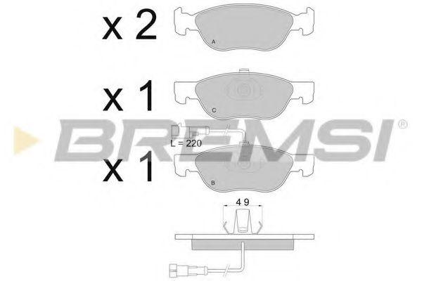 Тормозные колодки перед. Fiat Bravo/Marea 96-02 (ATE) (156,3x52,6x17,6)  арт. BP2667