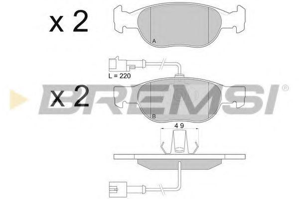 Колодки тормозные передние Fiat Bravo/Marea 96-02 (ATE) (151,4x52x17,6)  арт. BP2676