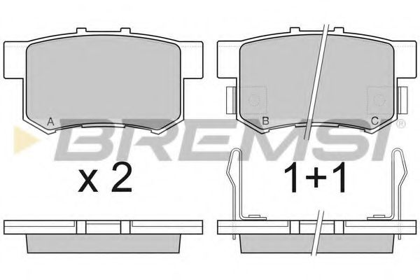 Колодки тормозные задние Honda Civic 98-01/CR-V 01-06 (Akebono) (47,5x89x14,5)  арт. BP2750