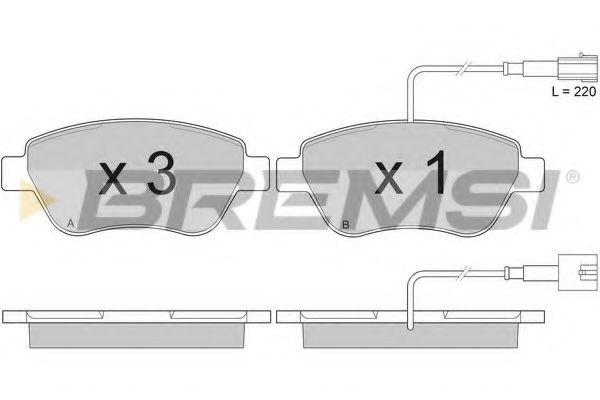 Тормозные колодки перед. Doblo 01- (Bosch) (122.8x53.6) с датчиком  арт. BP2942
