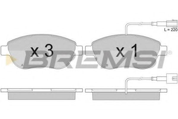 Тормозные колодки перед. Berlingo/Partner 01-/Doblo 03- (137x57.3x19)(с датчиком)  арт. BP2943