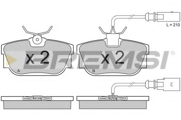 Тормозные колодки зад. T4 98-03 (Lucas) (51x94,9) с датчиком  арт. BP2946