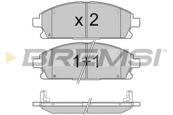 Колодки тормозные передние Nissan X-Trail 01-13/Pathfinder 97-04 (sumitomo) (159x56x16,4)  арт. BP3068