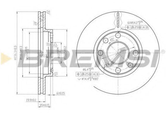 Тормозной диск перед. Astra F/Corsa B/Combo 94- (236x20) (вент.)  арт. DBA151V