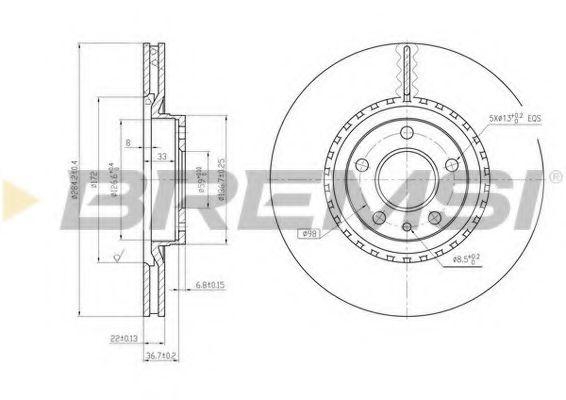 Тормозной диск перед. Doblo 10-/Combo 12- (284x22)  арт. DBA156V