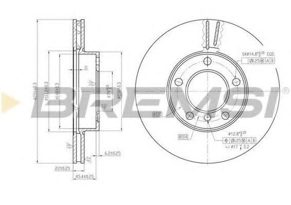 Тормозной диск перед. BMW 3 (E36/E46) 90-05 (286x22)  арт. DBA258V