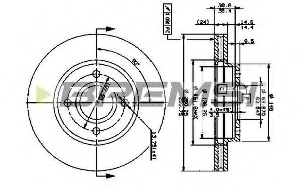 Тормозной диск перед. Mondeo I/II/ Scorpio 93-00 (вент) (260x24)  арт. DBA364V
