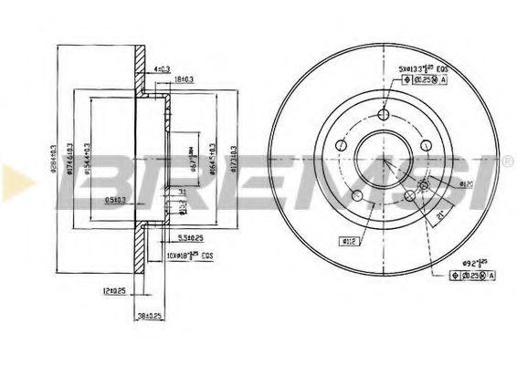 Тормозной диск перед. Mercedes W202 93-00 (284x12)  арт. DBA540S