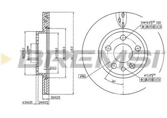 Тормозной диск перед. Scudo/Jumpy/Expert 96-06 (вент.) (257x20)  арт. DBA842V