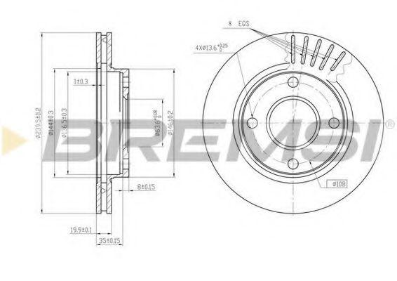Тормозной диск перед. Escort V/VI/VII/Fiesta III/IV (240x20)  арт. DBA887V