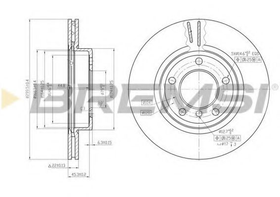 Тормозной диск перед. BMW 3 (E46) 98-05 (300x22)  арт. DBB066V