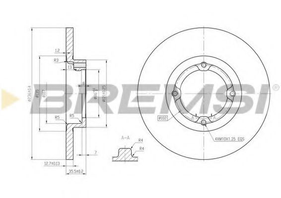 Тормозной диск перед. Matiz 98- (236x12.5)  арт. DBB076S