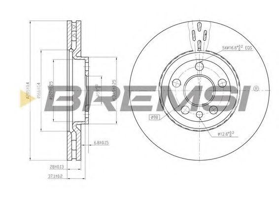 Тормозной диск перед. Scudo/Jumpy/Expert 04- (285x28) (вент.)  арт. DBB165V