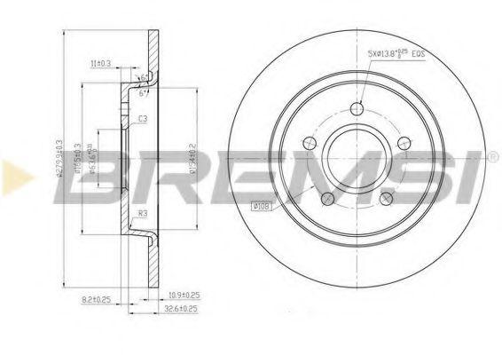 Тормозной диск зад. Ford C-MAX/Focus II 04- (280x11)  арт. DBB227S