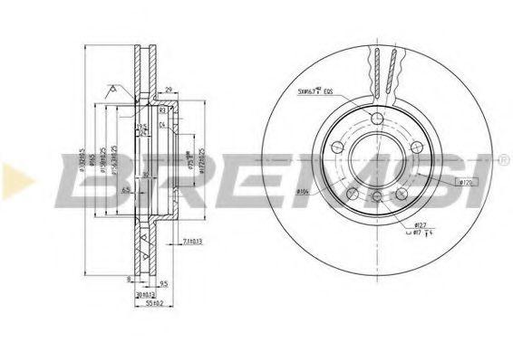 Тормозной диск перед. BMW X5 (E53/E83) 00-11 (332x30)  арт. DBB256V