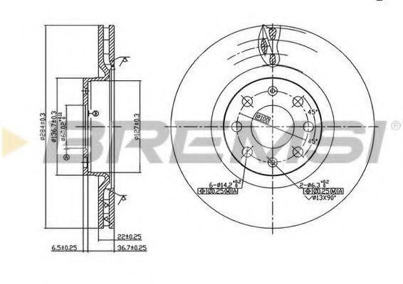 Тормозной диск перед. Corsa D 06-/Punto/Grande/Evo 05- (284x22)  арт. DBB298V