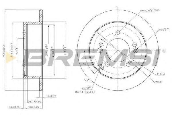 Тормозной диск зад. Tucson/Sonata/Magentis/Sportage 04- (262x10)  арт. DBB447S