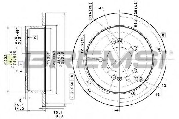 Тормозной диск зад. Tucson/Santa Fe/ix35/Sportage 01- (284x10)  арт. DBB493S