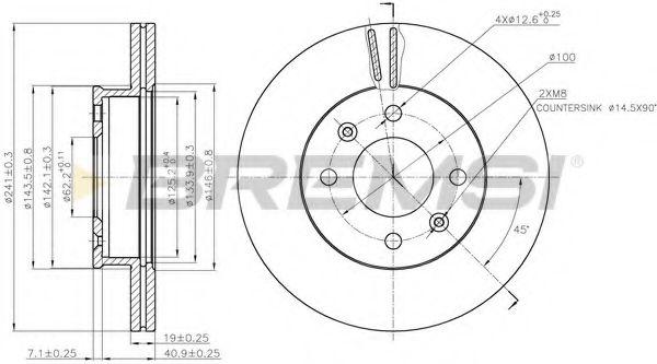 Тормозной диск перед. Hyundai Getz 02-10 (241x19)  арт. DBB529V