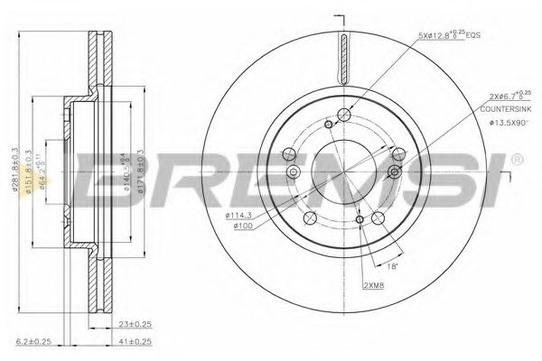 Тормозной диск перед. Civic VIII/IX 05- (282x23)  арт. DBB539V