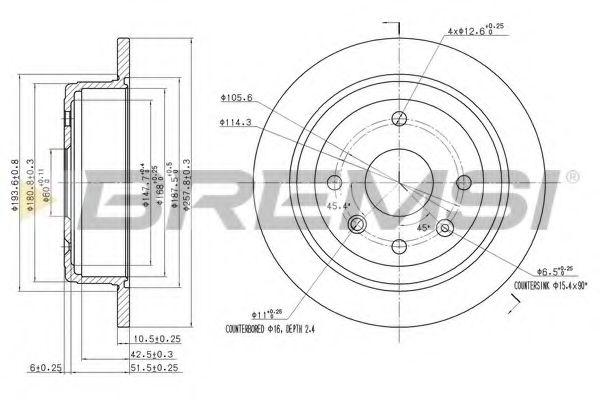 Тормозной диск зад. Lacetti/Nubira 05- (258x10)  арт. DBB606S