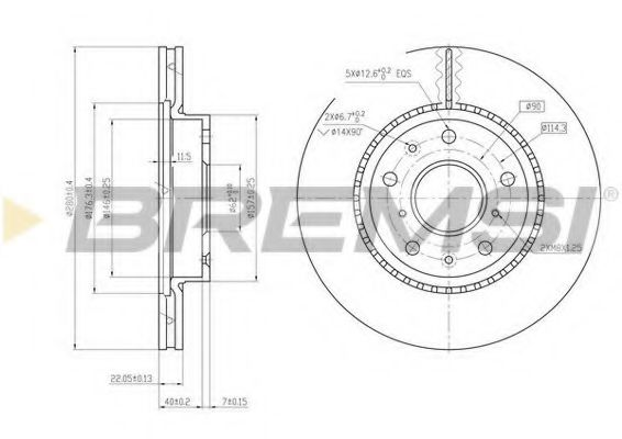 Тормозной диск перед. SX4/Sedici 06- (280x22)  арт. DBB620V