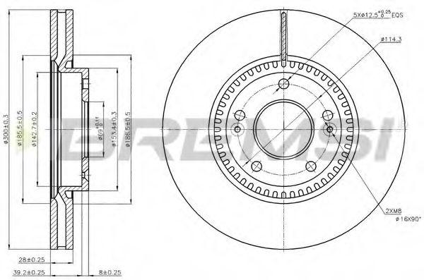 Тормозной диск перед. Sonata V/Tucson/i40/ix35/Optima/Sportage 04- (300x28)  арт. DBB630V