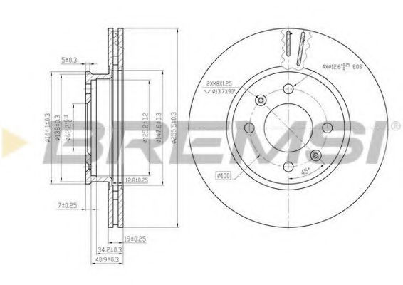 Тормозной диск перед. Hyundai Getz 02-10 (256x19)  арт. DBB636V