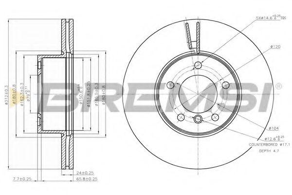 Тормозной диск перед. BMW 1 (F20/F21)/3 (E90/F30/F80)/X1 (E84) 04- (312x24)  арт. DBB717V