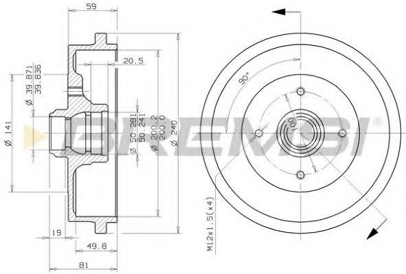 Тормозной барабан Caddy II/Golf III/IV/Polo -02  арт. DR5244